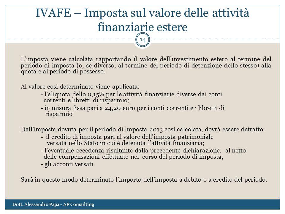 IVAFE – Imposta sul valore delle attività finanziarie estere