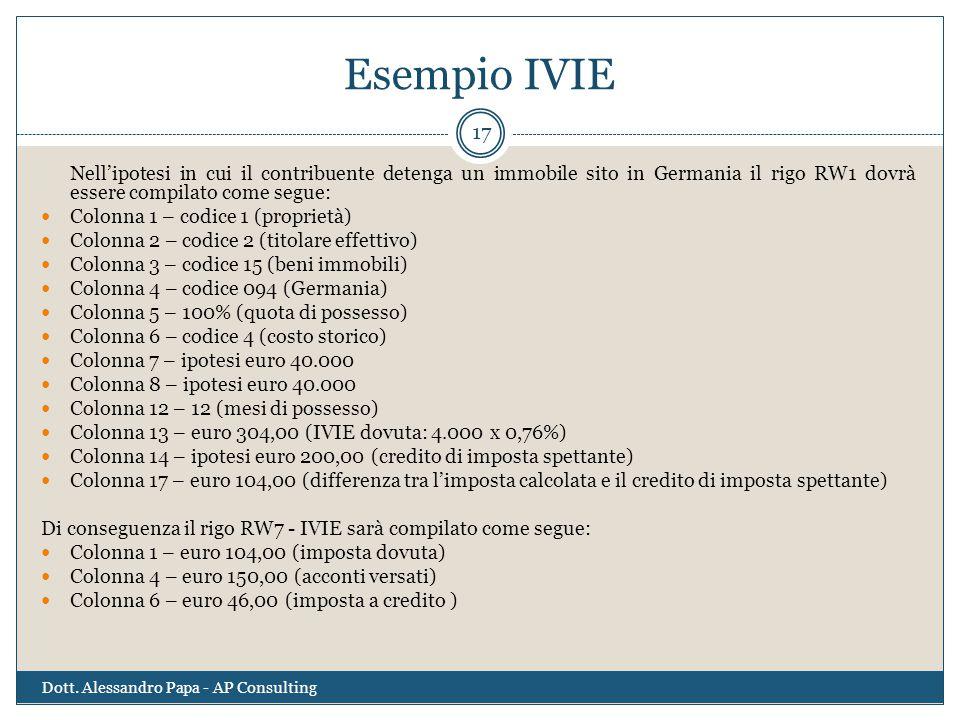 Esempio IVIE Nell'ipotesi in cui il contribuente detenga un immobile sito in Germania il rigo RW1 dovrà essere compilato come segue: