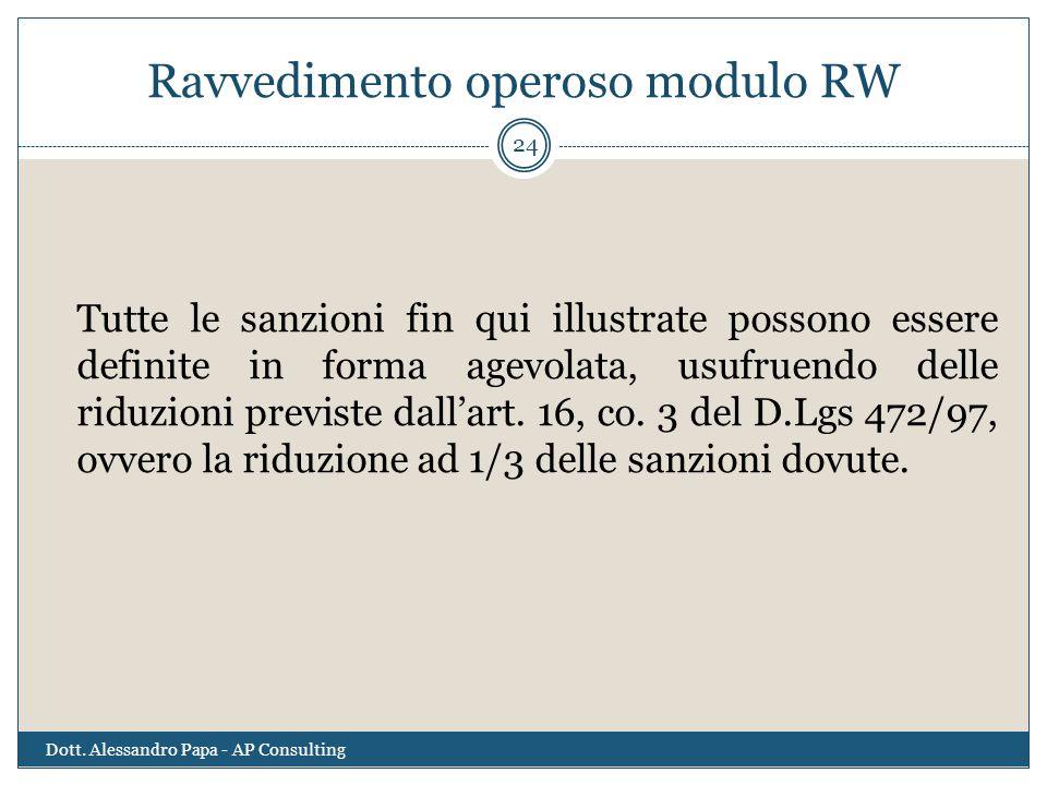 Ravvedimento operoso modulo RW