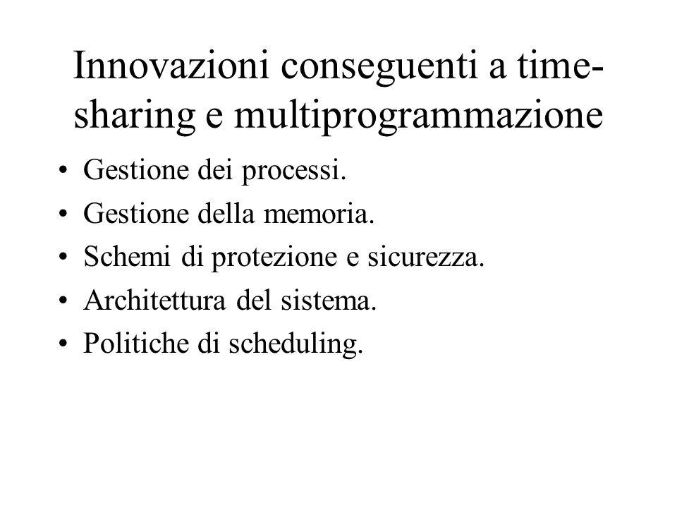 Innovazioni conseguenti a time-sharing e multiprogrammazione