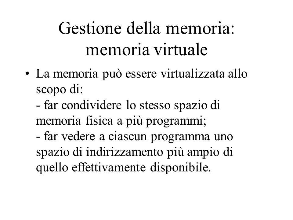Gestione della memoria: memoria virtuale