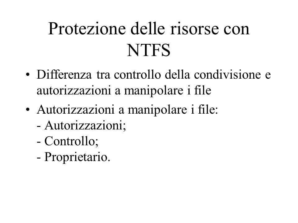 Protezione delle risorse con NTFS
