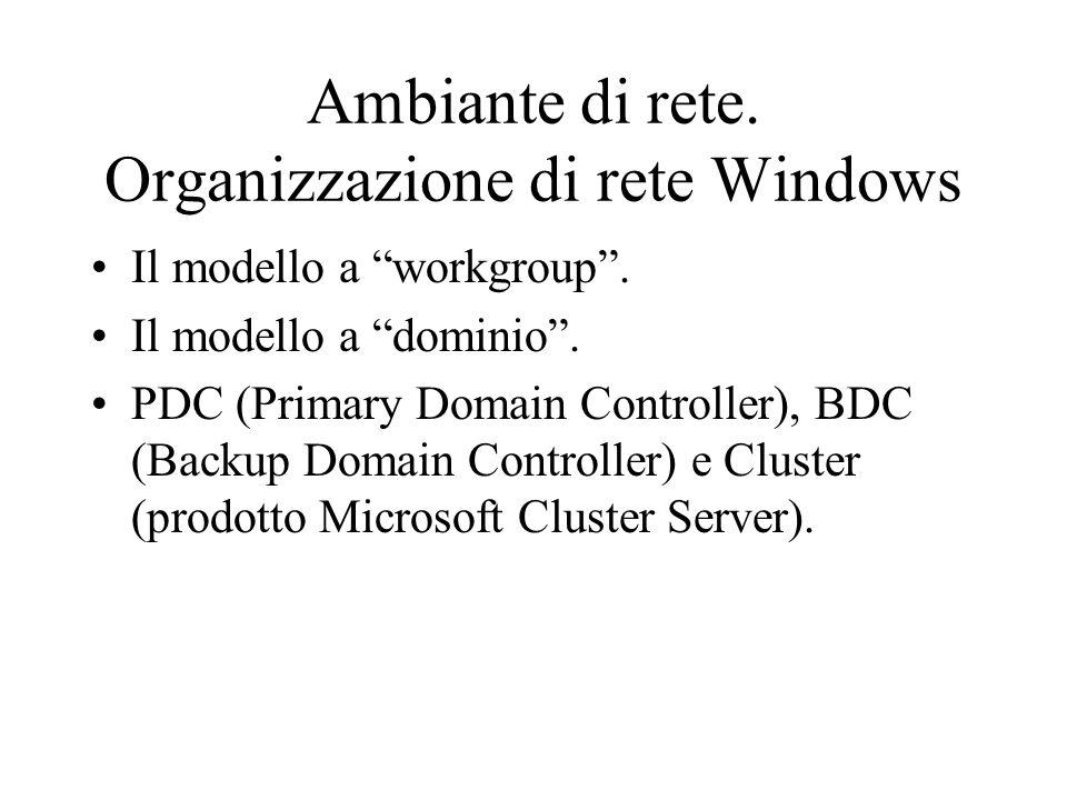 Ambiante di rete. Organizzazione di rete Windows