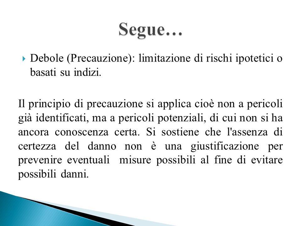 Segue… Debole (Precauzione): limitazione di rischi ipotetici o basati su indizi.