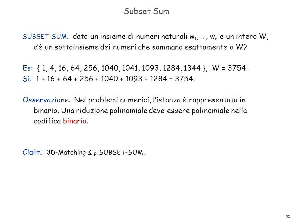 Subset Sum SUBSET-SUM. dato un insieme di numeri naturali w1, …, wn e un intero W, c'è un sottoinsieme dei numeri che sommano esattamente a W