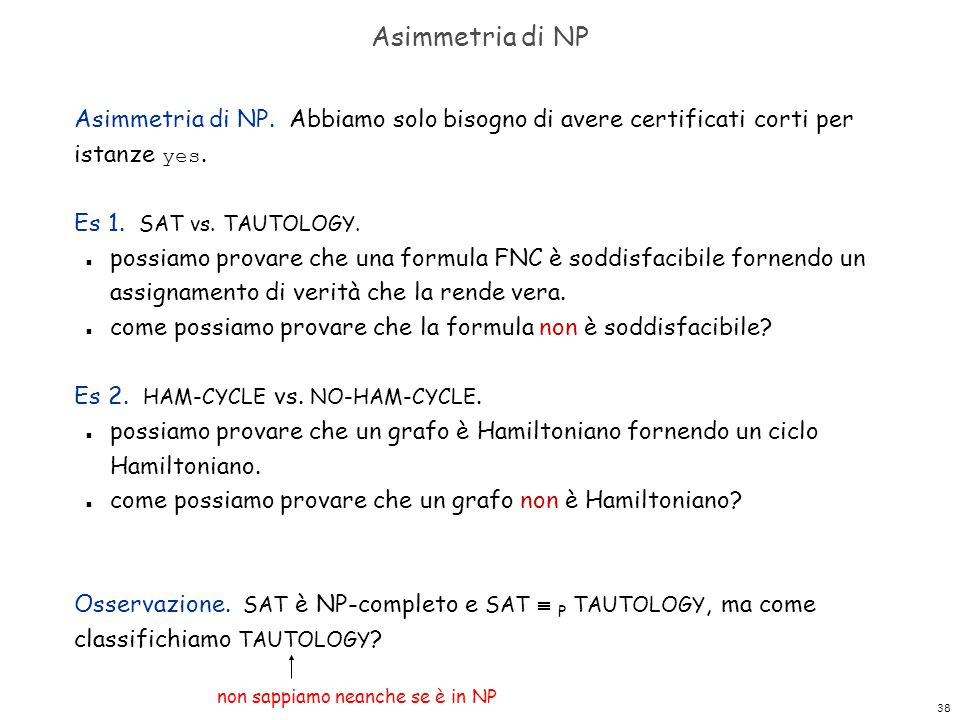 Asimmetria di NP Asimmetria di NP. Abbiamo solo bisogno di avere certificati corti per istanze yes.
