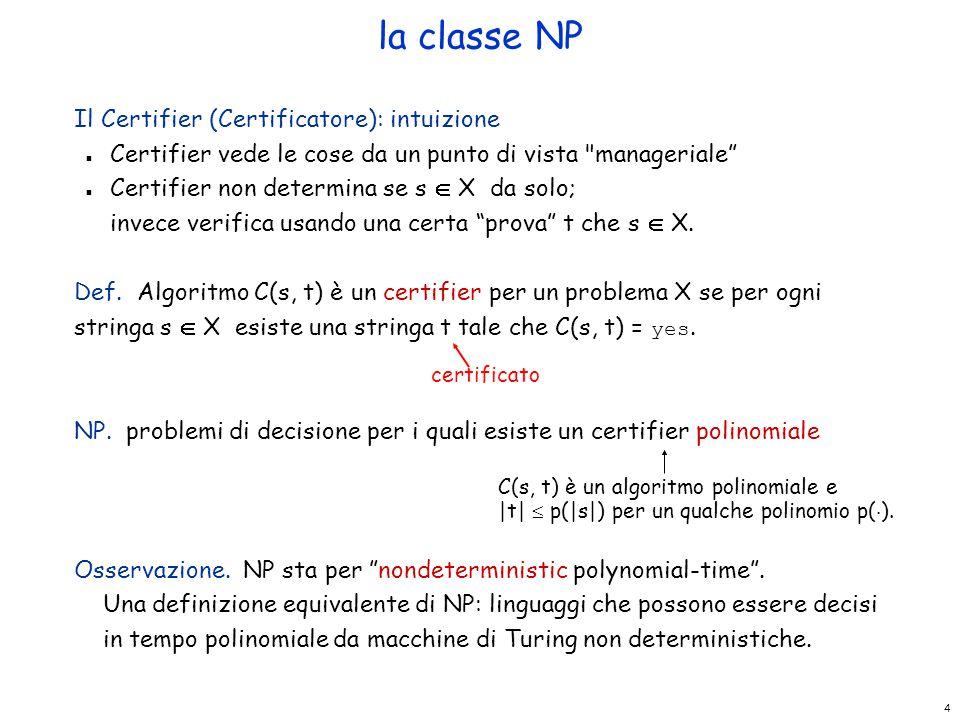 la classe NP Il Certifier (Certificatore): intuizione