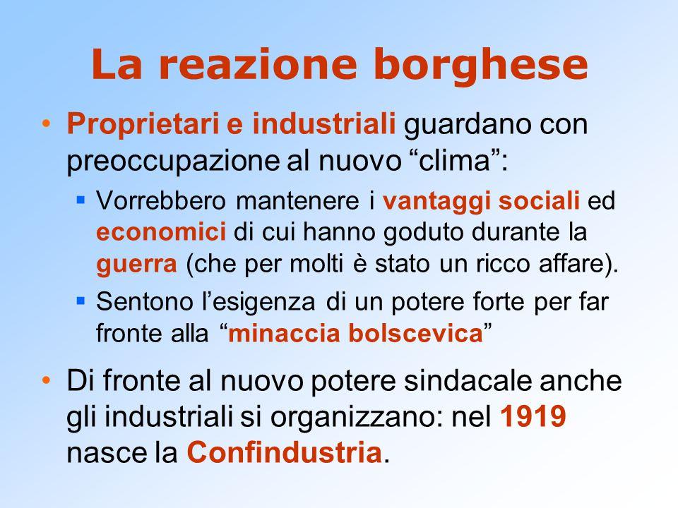La reazione borghese Proprietari e industriali guardano con preoccupazione al nuovo clima :