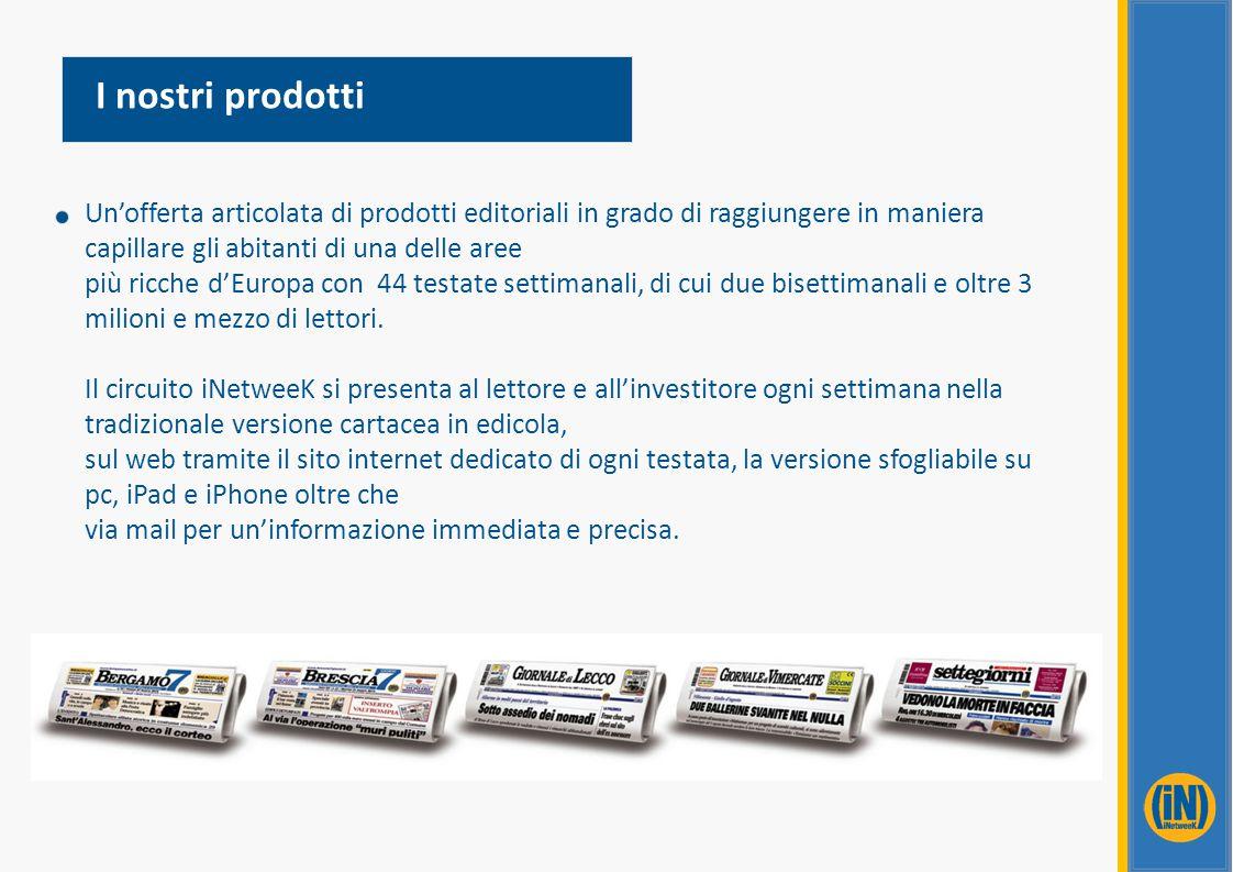 I nostri prodotti Un'offerta articolata di prodotti editoriali in grado di raggiungere in maniera capillare gli abitanti di una delle aree.