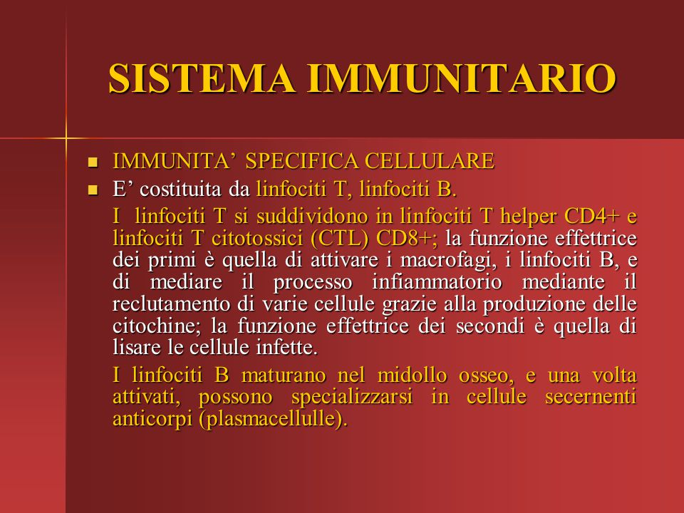 SISTEMA IMMUNITARIO IMMUNITA' SPECIFICA CELLULARE