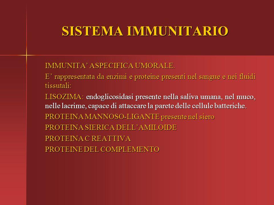 SISTEMA IMMUNITARIO IMMUNITA' ASPECIFICA UMORALE.