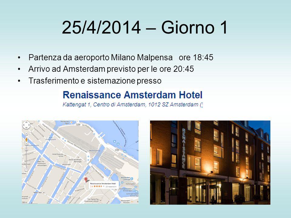 25/4/2014 – Giorno 1 Partenza da aeroporto Milano Malpensa ore 18:45