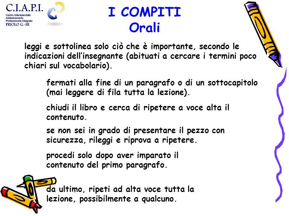 I COMPITI Orali.