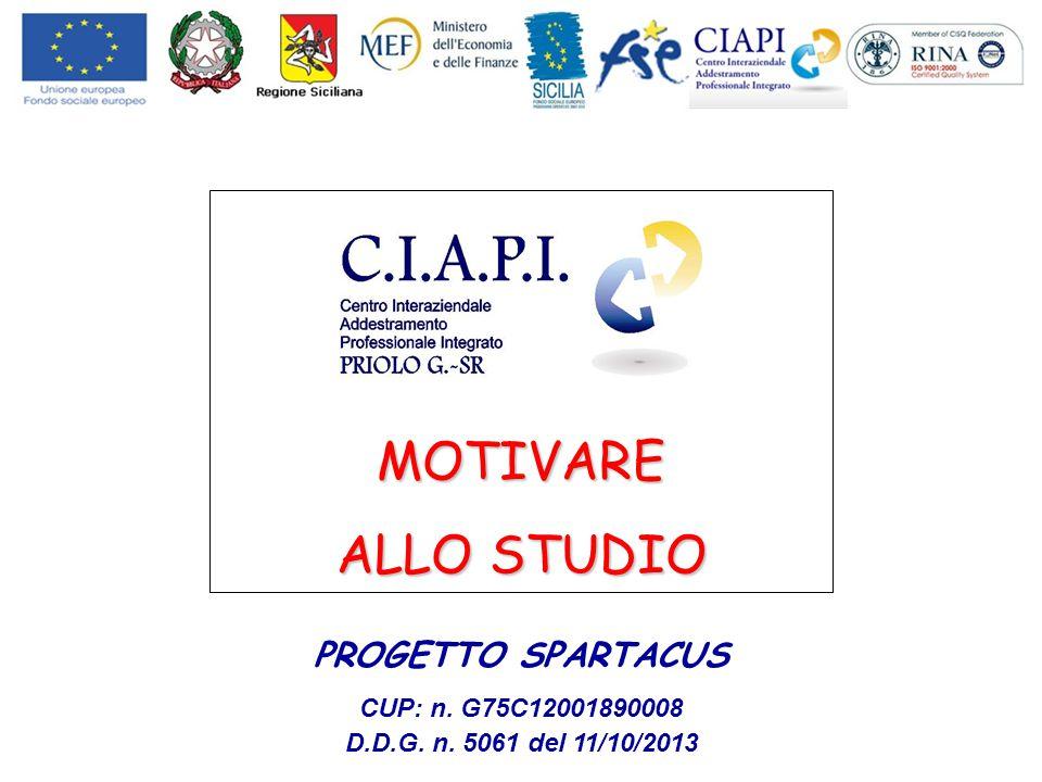 MOTIVARE ALLO STUDIO PROGETTO SPARTACUS CUP: n. G75C12001890008