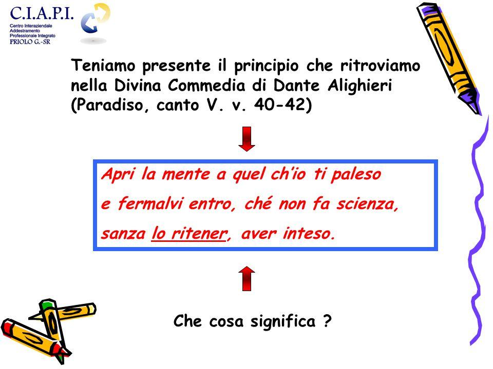 Teniamo presente il principio che ritroviamo nella Divina Commedia di Dante Alighieri (Paradiso, canto V. v. 40-42)