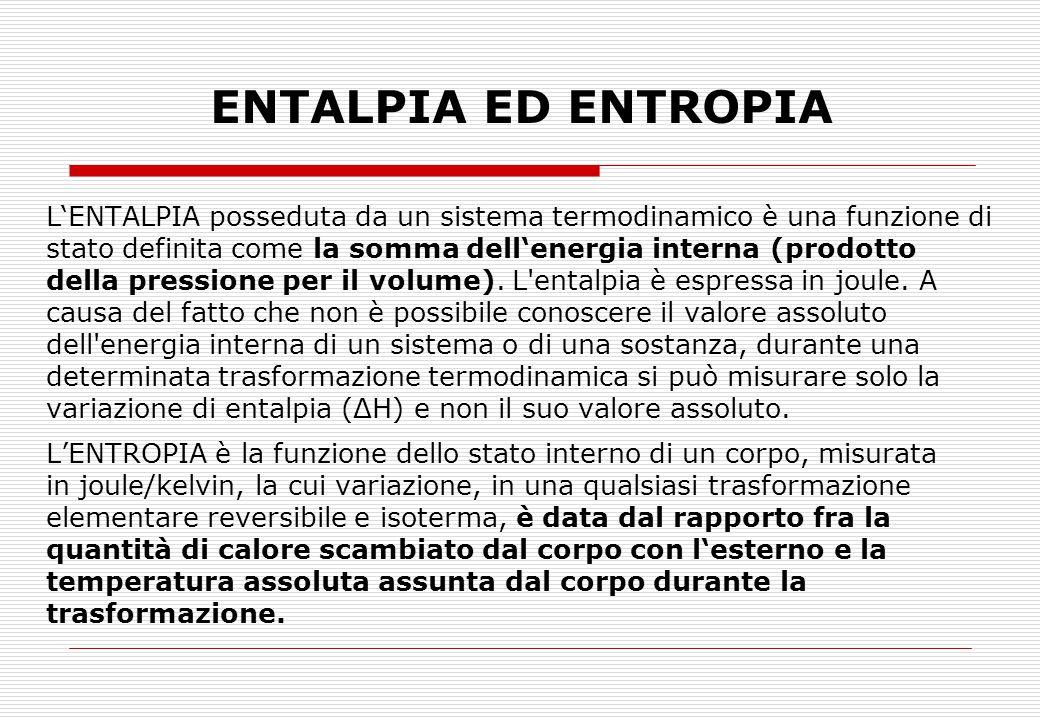 ENTALPIA ED ENTROPIA L'ENTALPIA posseduta da un sistema termodinamico è una funzione di. stato definita come la somma dell'energia interna (prodotto.