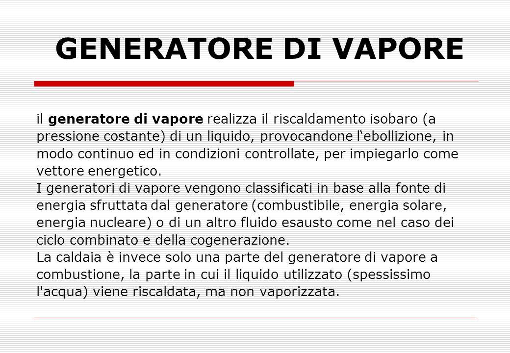 GENERATORE DI VAPORE il generatore di vapore realizza il riscaldamento isobaro (a. pressione costante) di un liquido, provocandone l'ebollizione, in.