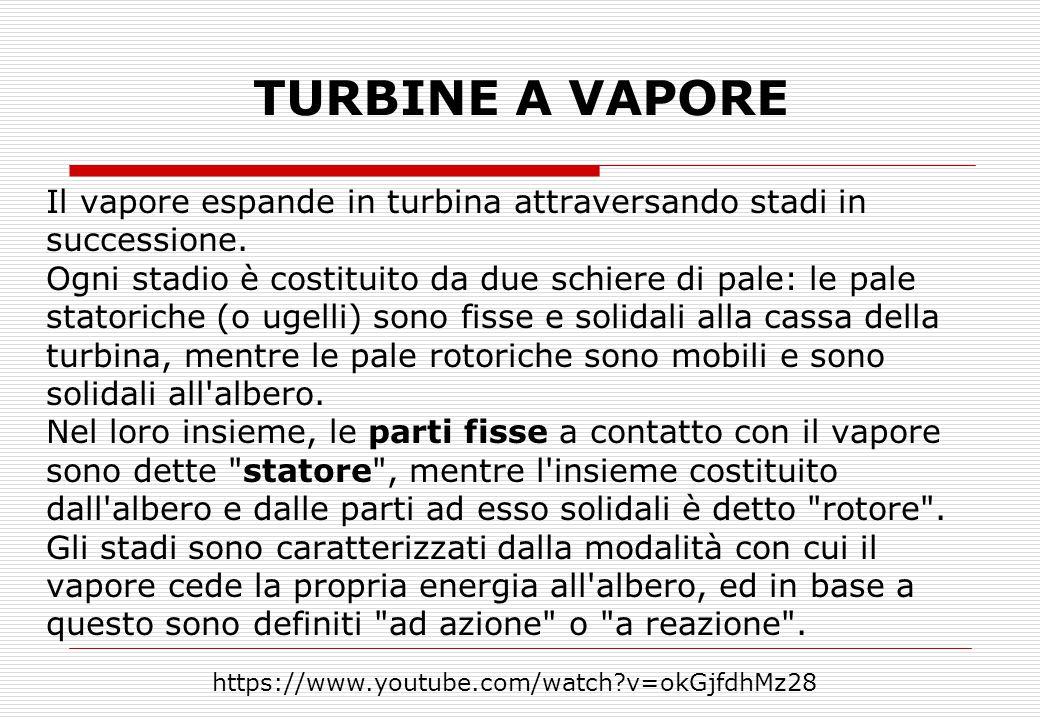 TURBINE A VAPORE Il vapore espande in turbina attraversando stadi in