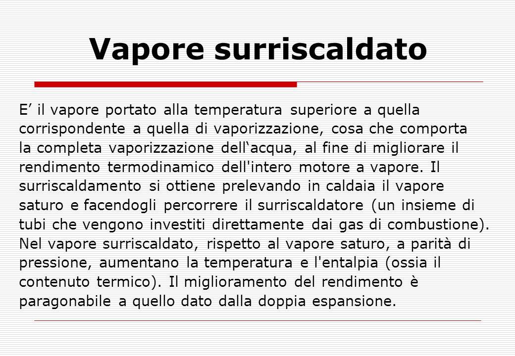 Vapore surriscaldato E' il vapore portato alla temperatura superiore a quella. corrispondente a quella di vaporizzazione, cosa che comporta.