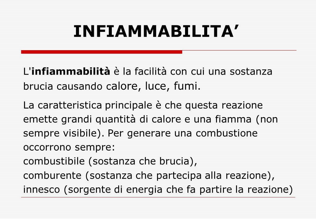 INFIAMMABILITA' L infiammabilità è la facilità con cui una sostanza