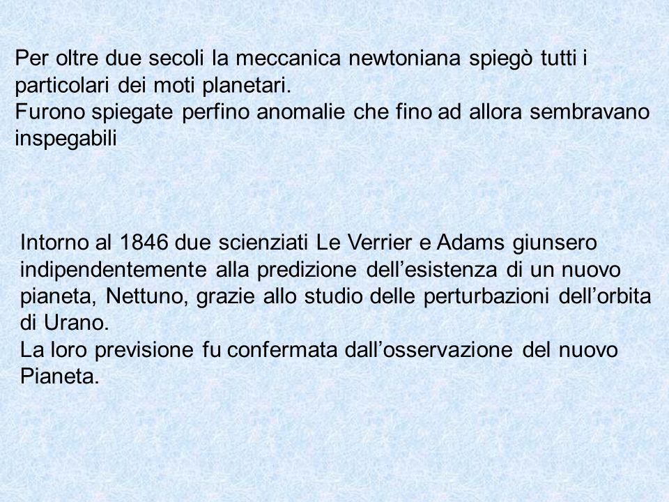Per oltre due secoli la meccanica newtoniana spiegò tutti i