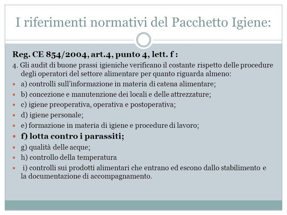 I riferimenti normativi del Pacchetto Igiene:
