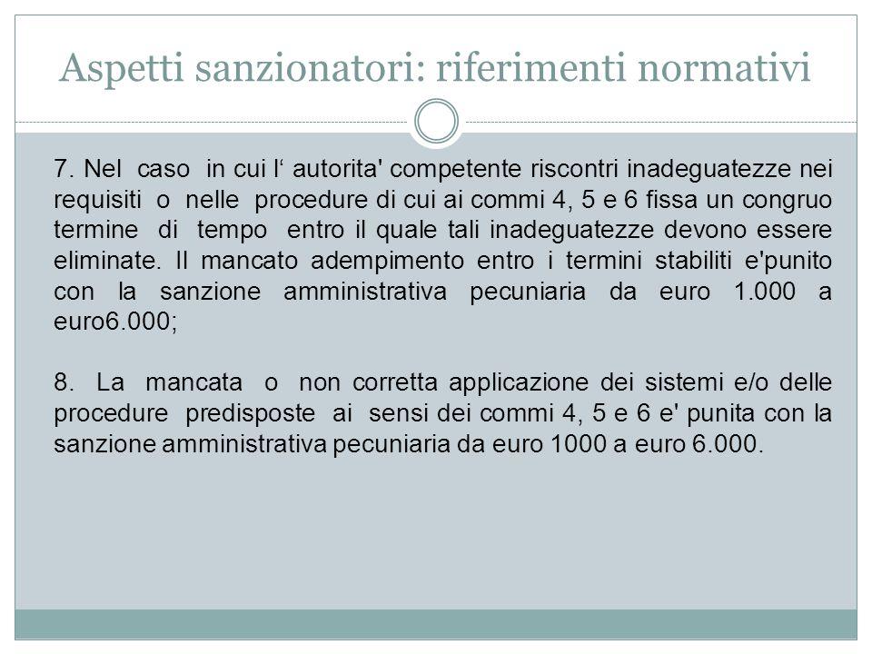 Aspetti sanzionatori: riferimenti normativi