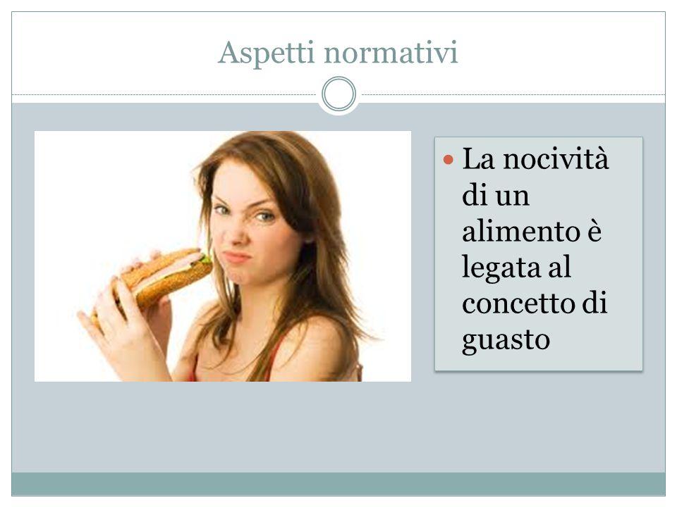 Aspetti normativi La nocività di un alimento è legata al concetto di guasto.