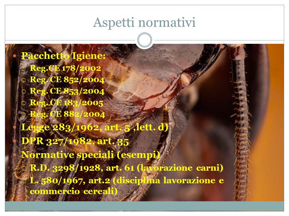 Aspetti normativi Pacchetto Igiene: Legge 283/1962, art. 5 ,lett. d)