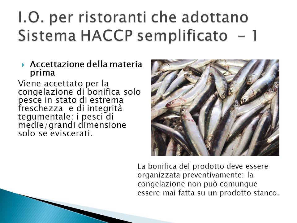 I.O. per ristoranti che adottano Sistema HACCP semplificato - 1