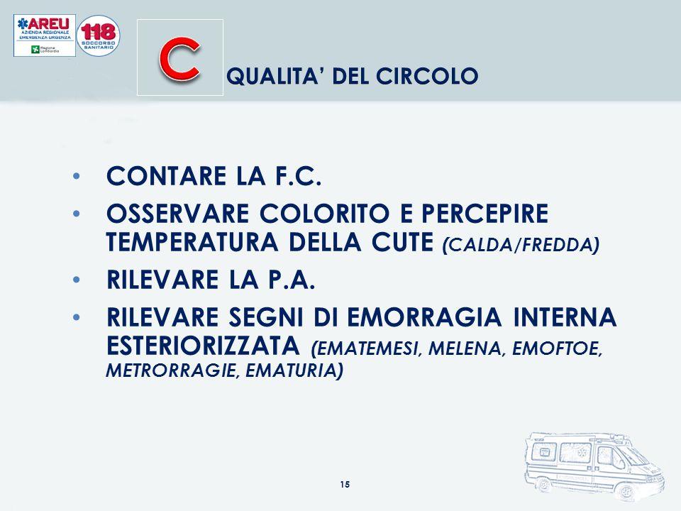C QUALITA' DEL CIRCOLO. CONTARE LA F.C. OSSERVARE COLORITO E PERCEPIRE TEMPERATURA DELLA CUTE (CALDA/FREDDA)