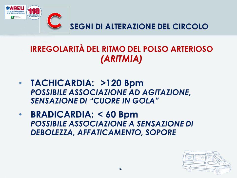 IRREGOLARITÀ DEL RITMO DEL POLSO ARTERIOSO (ARITMIA)