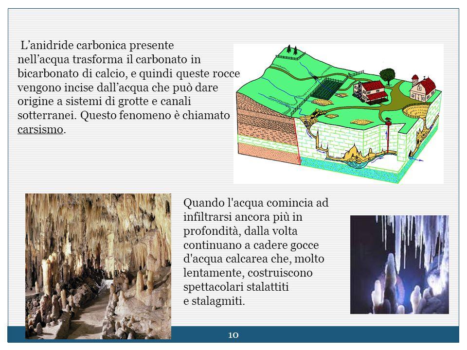 L'anidride carbonica presente nell'acqua trasforma il carbonato in bicarbonato di calcio, e quindi queste rocce vengono incise dall'acqua che può dare origine a sistemi di grotte e canali sotterranei. Questo fenomeno è chiamato carsismo.