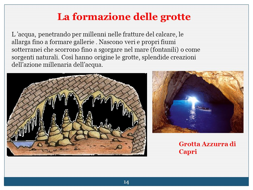 La formazione delle grotte