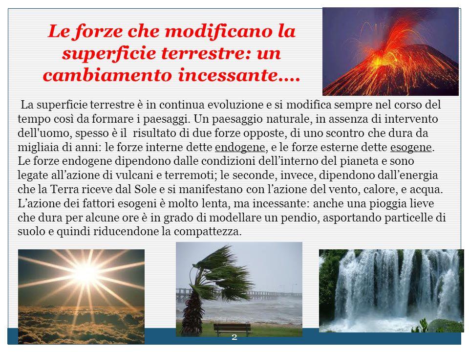 Le forze che modificano la superficie terrestre: un cambiamento incessante….