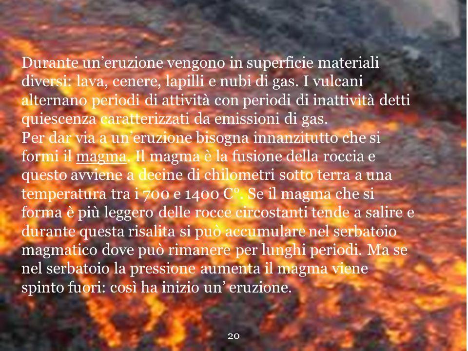 Durante un'eruzione vengono in superficie materiali diversi: lava, cenere, lapilli e nubi di gas.