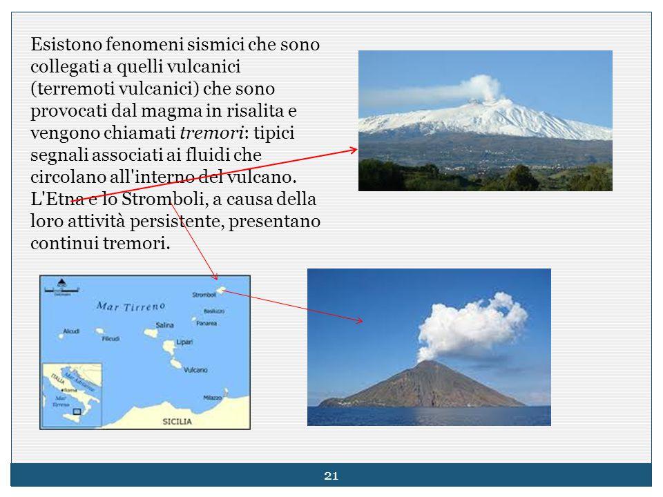 Esistono fenomeni sismici che sono collegati a quelli vulcanici (terremoti vulcanici) che sono provocati dal magma in risalita e vengono chiamati tremori: tipici segnali associati ai fluidi che circolano all interno del vulcano.