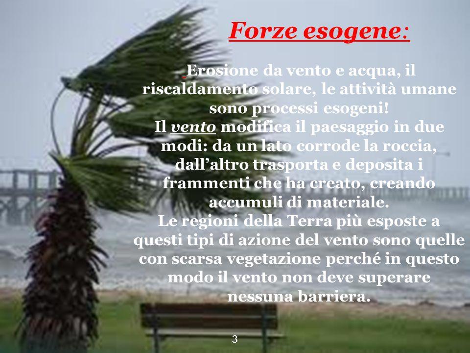Forze esogene: Erosione da vento e acqua, il riscaldamento solare, le attività umane sono processi esogeni!