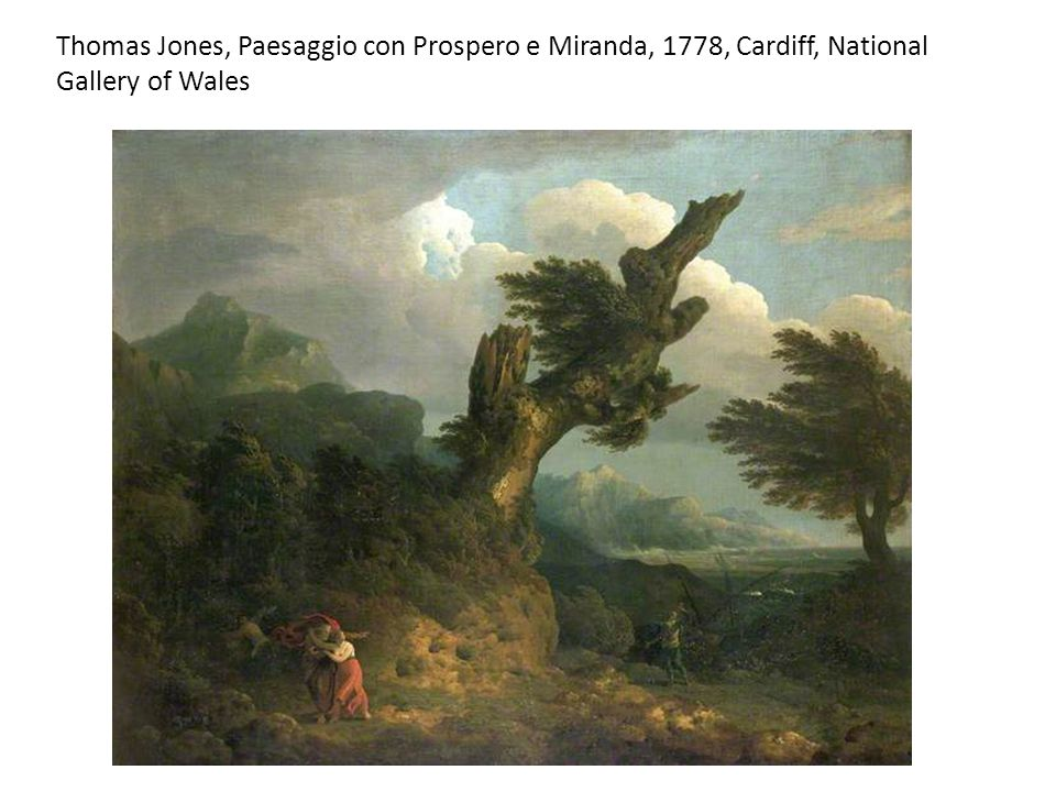 Thomas Jones, Paesaggio con Prospero e Miranda, 1778, Cardiff, National Gallery of Wales