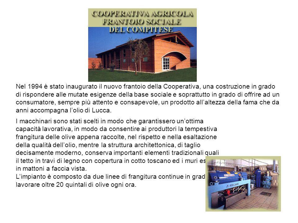 Nel 1994 è stato inaugurato il nuovo frantoio della Cooperativa, una costruzione in grado di rispondere alle mutate esigenze della base sociale e soprattutto in grado di offrire ad un consumatore, sempre più attento e consapevole, un prodotto all'altezza della fama che da anni accompagna l'olio di Lucca.