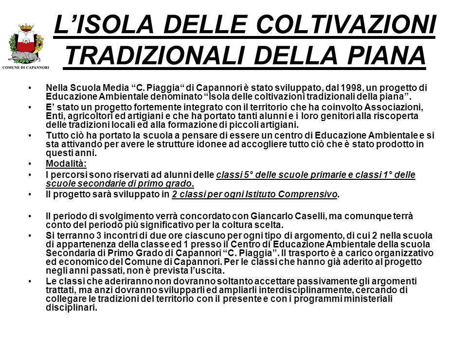 L'ISOLA DELLE COLTIVAZIONI TRADIZIONALI DELLA PIANA
