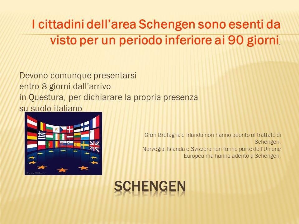 Schengen I cittadini dell'area Schengen sono esenti da