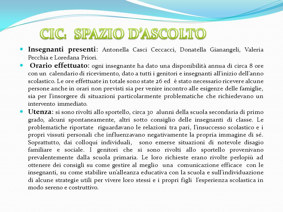 CIC: SPAZIO D'ASCOLTO Insegnanti presenti: Antonella Casci Ceccacci, Donatella Gianangeli, Valeria Pecchia e Loredana Priori.