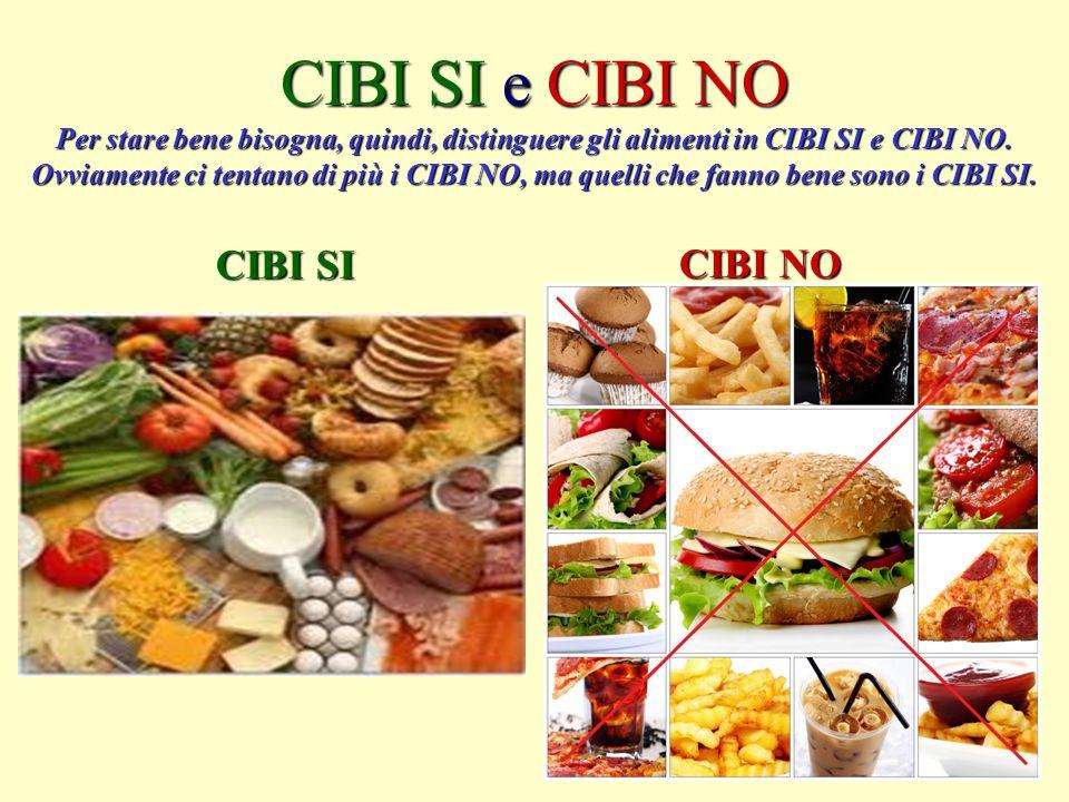 CIBI SI e CIBI NO Per stare bene bisogna, quindi, distinguere gli alimenti in CIBI SI e CIBI NO. Ovviamente ci tentano di più i CIBI NO, ma quelli che fanno bene sono i CIBI SI.