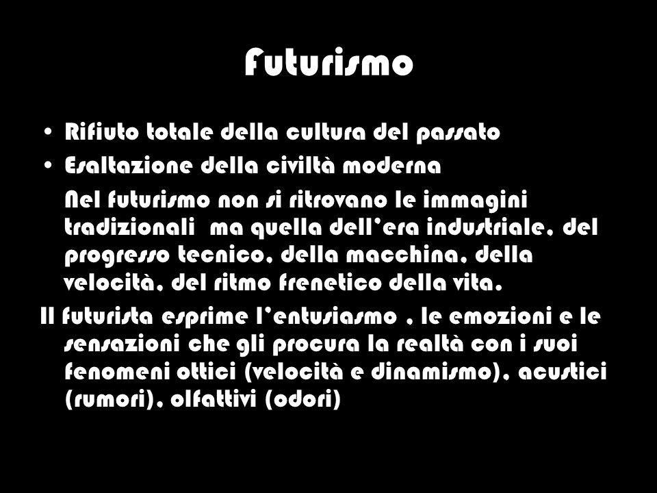 Futurismo Rifiuto totale della cultura del passato