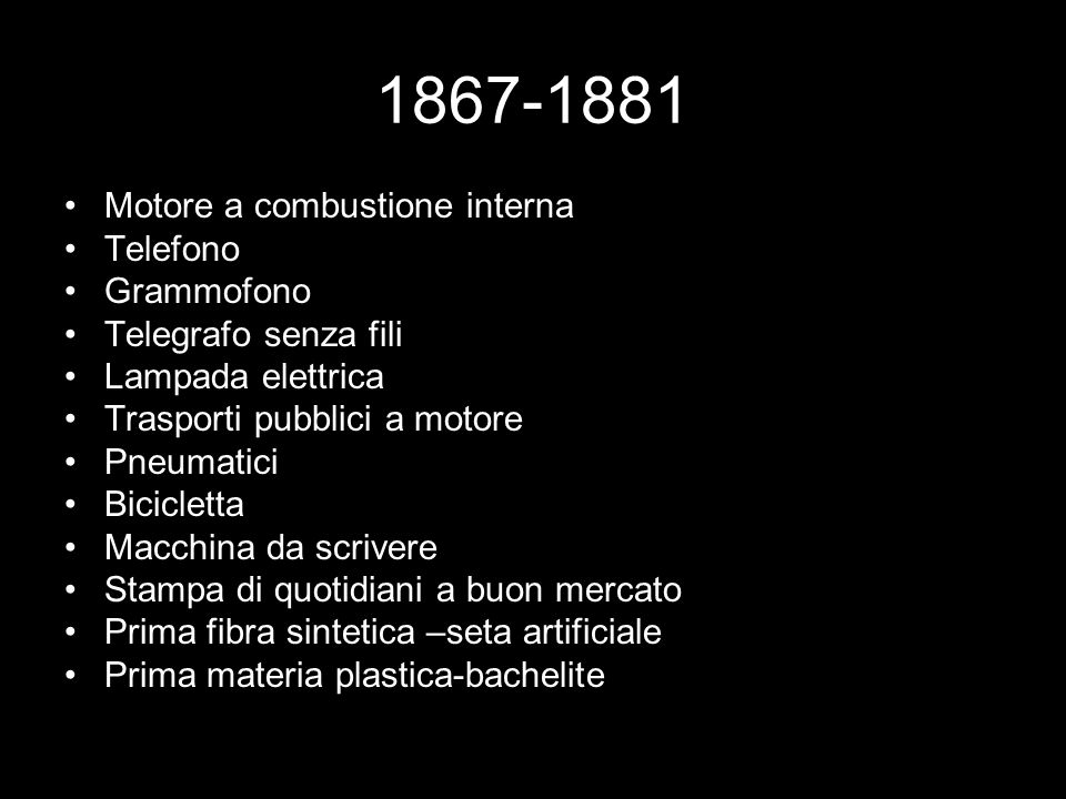 1867-1881 Motore a combustione interna Telefono Grammofono