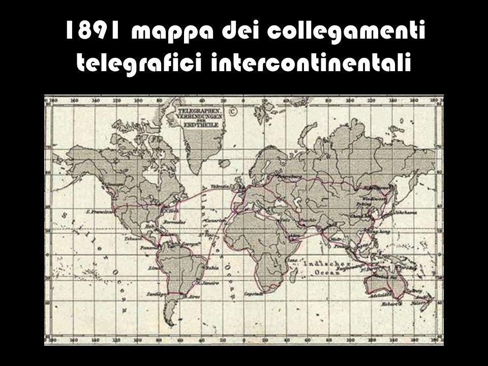 1891 mappa dei collegamenti telegrafici intercontinentali