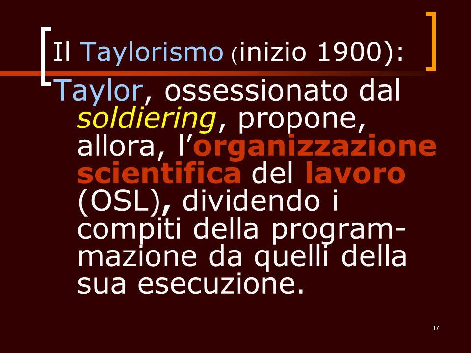 Il Taylorismo (inizio 1900):