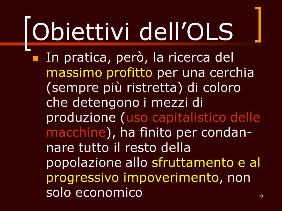 Obiettivi dell'OLS