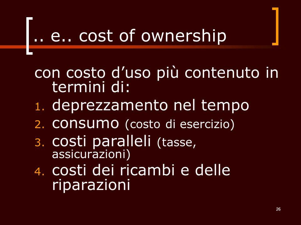 .. e.. cost of ownership con costo d'uso più contenuto in termini di: